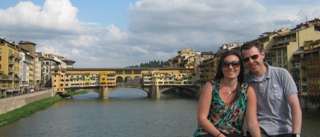 Sitting on bridge in Florence