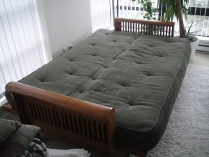 Green futon folded down