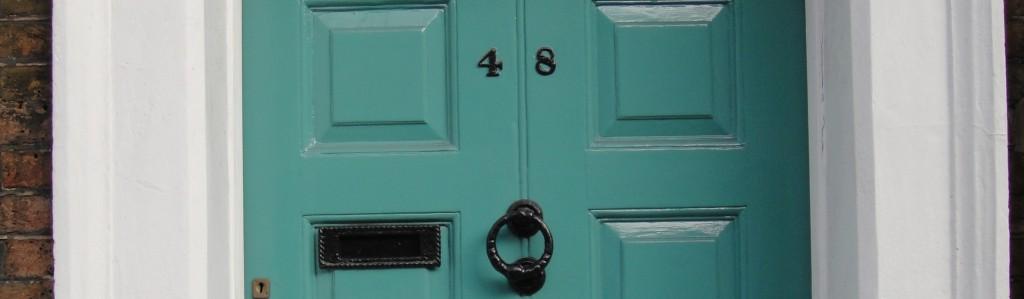 Charles Dickens Museum door with 48 Doughty Street address