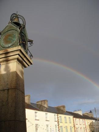 Carrick on Shannon clock tower with rainbow