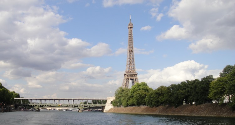 View of Eiffel Tower from boat on the Seine River