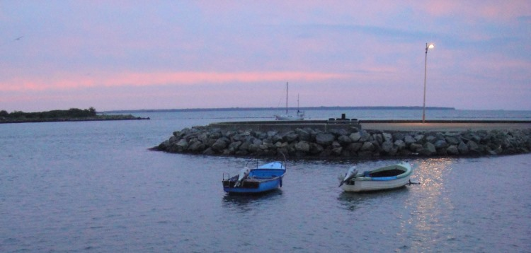 pink sky morning over Wexford harbour