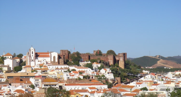 View of Silves and castle from afar