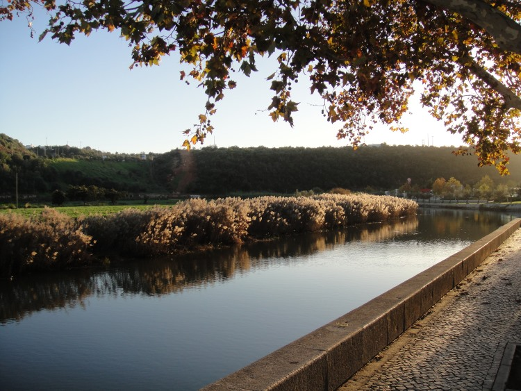 sun setting on Arade River in Silves